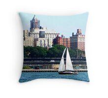 New York - Sailboat Against Manhattan Skyline Throw Pillow