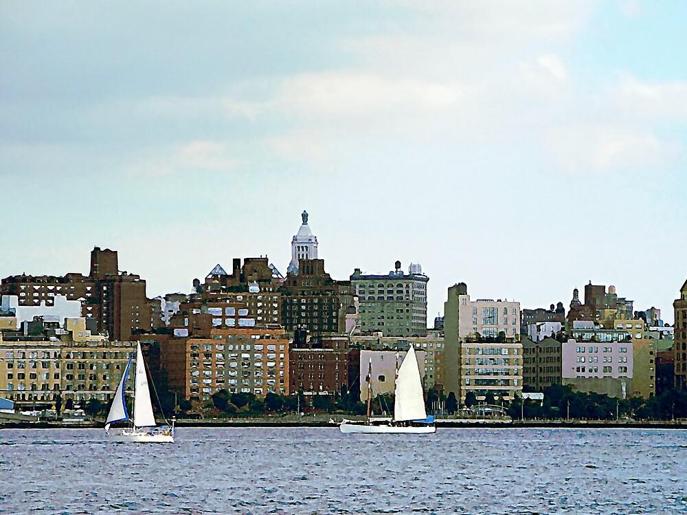 New York - Two Sailboats Against Manhattan Skyline by Susan Savad