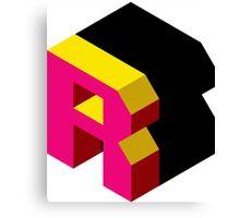 Letter R Isometric Graphic Canvas Print