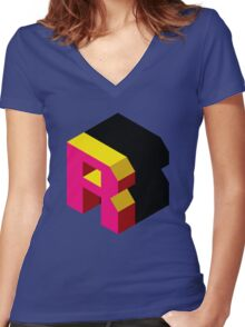 Letter R Isometric Graphic Women's Fitted V-Neck T-Shirt
