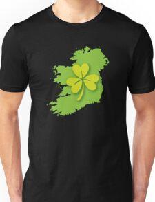 IRELAND map with a shamrock Unisex T-Shirt