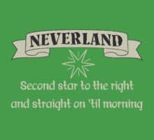 Neverland Second Star To The Right And Straight On Til Morning T Shirt Kids Tee