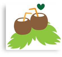 cute coconuts tropical drinks Canvas Print