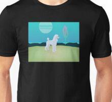White Poodle Moon Unisex T-Shirt