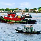 Norfolk VA - Police Boat and Two Tugboats by Susan Savad
