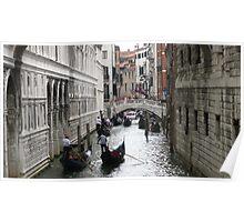 gondolas at Venice canal Poster
