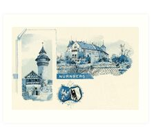 Vintage 1890s litho Nuernberg Nuremberg blue litho Art Print