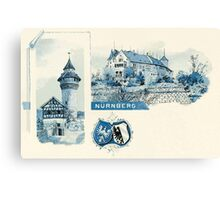 Vintage 1890s litho Nuernberg Nuremberg blue litho Canvas Print
