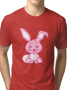 Easter pink bunny rabbit graphic Tri-blend T-Shirt
