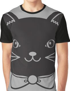 Cool Black Kitty Cat Face Graphic T-Shirt