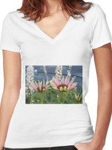 Echinacea Blossoms Women's Fitted V-Neck T-Shirt