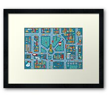 Complex busy cute city map Framed Print
