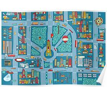 Complex busy cute city map Poster