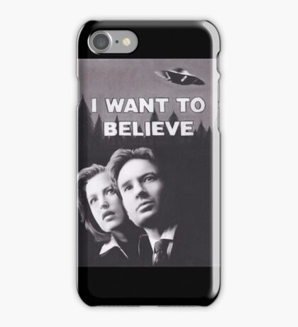 Original Charcoal Drawing of X Files I Want to Believe iPhone Case/Skin