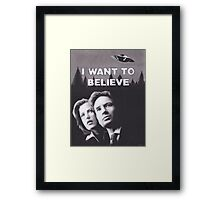 Original Charcoal Drawing of X Files I Want to Believe Framed Print