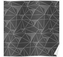 simple pattern of triangles , which are connected to each other filaments are connected to each other , executed in shades of gray, on transparent background Poster