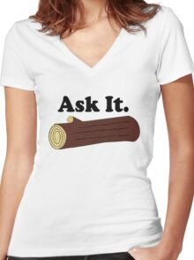 Ask It Log Lady Twin Peaks Women's Fitted V-Neck T-Shirt