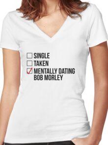 MENTALLY DATING BOB MORLEY Women's Fitted V-Neck T-Shirt