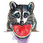 Raccoon Breakfast by Emma Kaufmann
