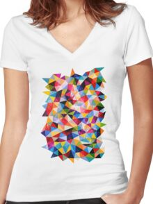 Space Shapes Women's Fitted V-Neck T-Shirt