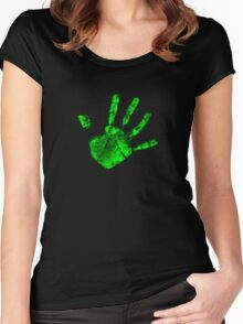Green Hand Print Women's Fitted Scoop T-Shirt