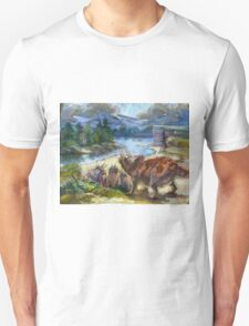 Herd of triceratopses is walking to a river T-Shirt