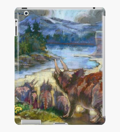 Herd of triceratopses is walking to a river iPad Case/Skin