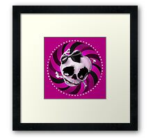 Girly Pink Skull with Black Bow Framed Print