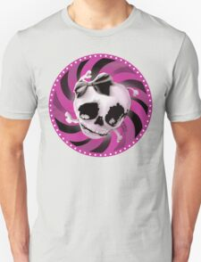 Girly Pink Skull with Black Bow Unisex T-Shirt