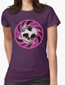 Girly Pink Skull with Black Bow Womens Fitted T-Shirt