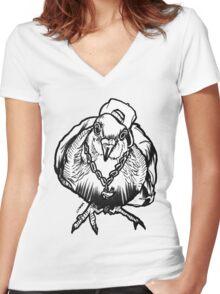Homie Pigeon (Black & White) RedBubbleArtParty Women's Fitted V-Neck T-Shirt