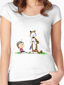 Calvin and Hobbes Cute Face Women's Fitted Scoop T-Shirt