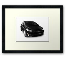Black 2017 Tesla Model X luxury SUV electric car isolated on white art photo print Framed Print