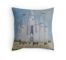 Fairytale Castle, Art for Children, Hand painted, Original, Canvas Wall Hangings Throw Pillow