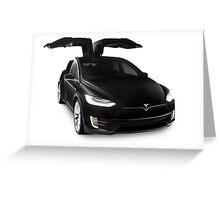 Black 2017 Tesla Model X luxury SUV electric car falcon doors art photo print Greeting Card
