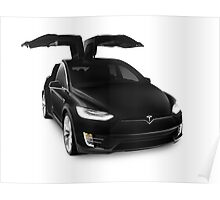 Black 2017 Tesla Model X luxury SUV electric car falcon doors art photo print Poster