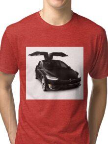 Black 2017 Tesla Model X luxury SUV electric car falcon doors art photo print Tri-blend T-Shirt