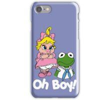 Muppet Babies - Kermit & Miss Piggy - Oh Boy - White Font iPhone Case/Skin