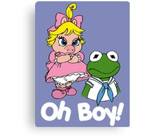 Muppet Babies - Kermit & Miss Piggy - Oh Boy - White Font Canvas Print