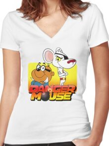 MOUSE IS DANGER Women's Fitted V-Neck T-Shirt