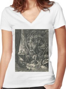 Don Quixote in his study by Gustave Dore Women's Fitted V-Neck T-Shirt