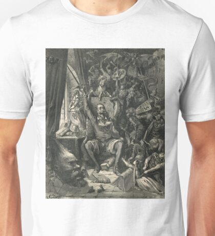 Don Quixote in his study by Gustave Dore Unisex T-Shirt