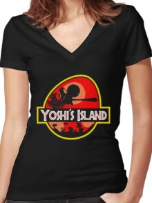 Jurassic Park - Yoshi's Island Women's Fitted V-Neck T-Shirt