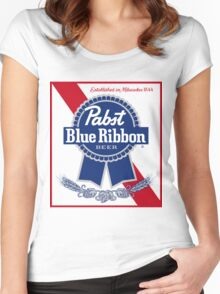 Pabst Blue Ribbon Beer PBR  Women's Fitted Scoop T-Shirt
