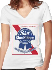 Pabst Blue Ribbon Beer PBR  Women's Fitted V-Neck T-Shirt