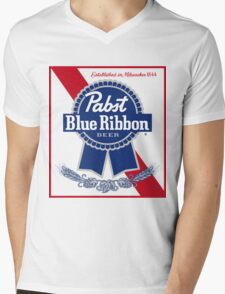 Pabst Blue Ribbon Beer PBR  Mens V-Neck T-Shirt