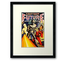 Retro Vintage CAPTAIN FUTURE NO. 1 PULP MAGAZINE ART Framed Print