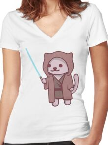 Neko atsume - Jedi cat Women's Fitted V-Neck T-Shirt