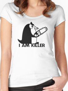 Killer Penguin Funny Man Tshirt Women's Fitted Scoop T-Shirt