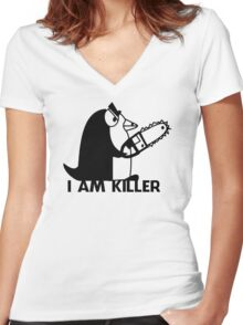 Killer Penguin Funny Man Tshirt Women's Fitted V-Neck T-Shirt